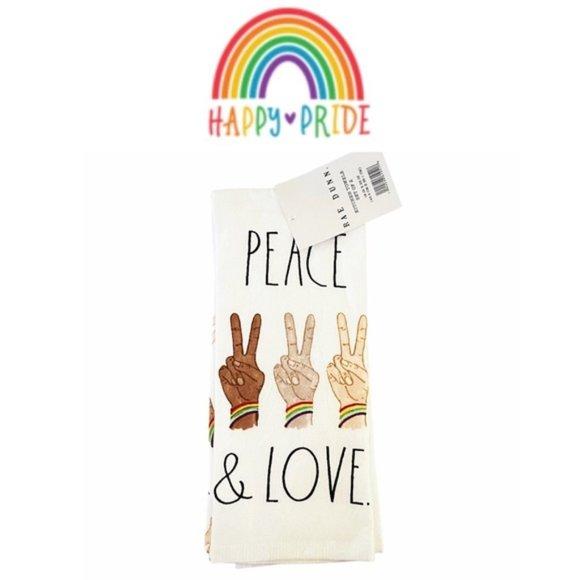 RAE DUNN Peace & Love Kitchen Towels NWT